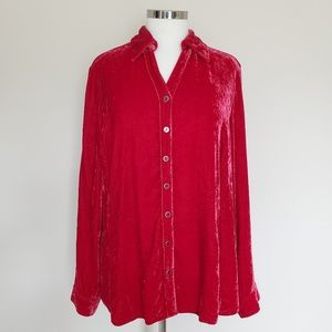 Coldwater Creek Crushed Red Velvet Top Blouse XL